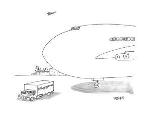 A truck emblazoned with 'lostluggage.com' drives past a taxied airplane. - New Yorker Cartoon by Jack Ziegler