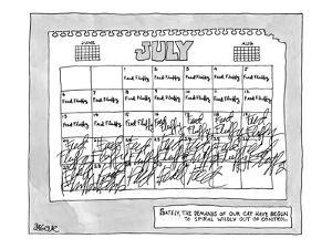 Calendar page with daily notes to 'Feed Fluffy' with handwriting  that get… - New Yorker Cartoon by Jack Ziegler