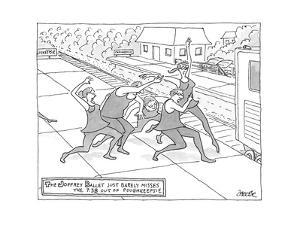 Dancers dance towards train. - New Yorker Cartoon by Jack Ziegler