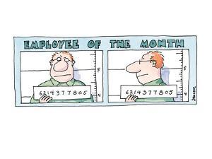 Employee of the Month' as a mug shot, with number. - New Yorker Cartoon by Jack Ziegler