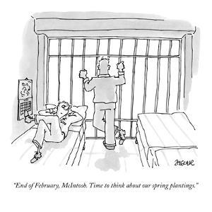 """End of February, McIntosh. Time to think about our spring plantings."" - New Yorker Cartoon by Jack Ziegler"