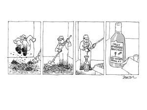 Four panel drawing.  Janitor has stomped, mopped up, and squeezed grapes i? - New Yorker Cartoon by Jack Ziegler