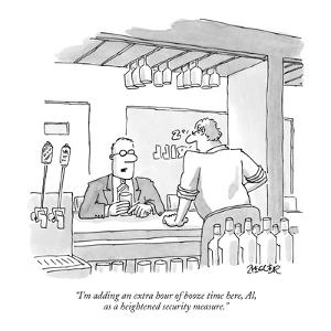"""""""I'm adding an extra hour of booze time here, Al, as a heightened security?"""" - New Yorker Cartoon by Jack Ziegler"""