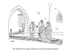 """""""It's still the red-carpet treatment, even if it's only remnants."""" - New Yorker Cartoon by Jack Ziegler"""