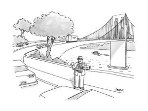"""Man hitchhiking near on ramp to bridge. His sign reads, """"Mid-Span,"""" and he… - New Yorker Cartoon by Jack Ziegler"""