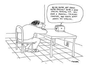 Man sits at kitchen table listening to a toaster with a word balloon that ? - New Yorker Cartoon by Jack Ziegler