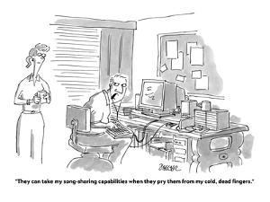 Man sitting at a computer wearing earphones, talking to his wife. - Cartoon by Jack Ziegler