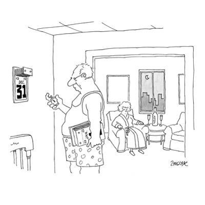 Man waiting for midnight with a stopwatch so he can change his wall calendar. - New Yorker Cartoon by Jack Ziegler