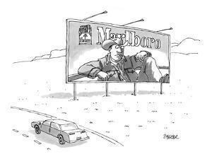 Marlboro billboard on side of highway with the cowboy looking at a limp ci… - New Yorker Cartoon by Jack Ziegler