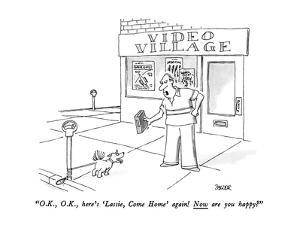 """""""O.K., O.K., here's 'Lassie, Come Home' again!  Now are you happy?"""" - New Yorker Cartoon by Jack Ziegler"""