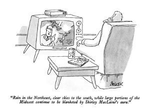 """Rain in the Northeast, clear skies to the south, while large portions of …"" - New Yorker Cartoon by Jack Ziegler"