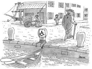 Sailor with a wooden leg, in colonial times, leaves his row boat tied up t… - New Yorker Cartoon by Jack Ziegler