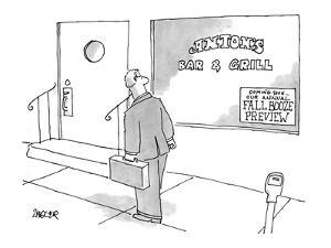 "Sign for ""fall booze preview"" at a bar. - New Yorker Cartoon by Jack Ziegler"