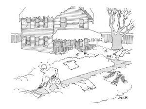 Sweating man wearing only boxer shorts, shoveling snow from his front walk. - New Yorker Cartoon by Jack Ziegler