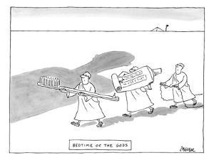 Three men are seen carrying giant tools of oral hygiene: a toothbrush, too? - New Yorker Cartoon by Jack Ziegler