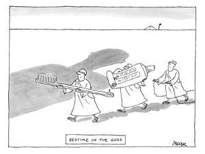 Three men are seen carrying giant tools of oral hygiene: a toothbrush, too… - New Yorker Cartoon by Jack Ziegler