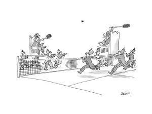 Two royals held by servants play badminton. - New Yorker Cartoon by Jack Ziegler