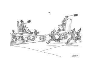 Two royals held by servants play badminton. - New Yorker Cartoon by Jack Ziegler