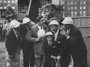 Jackie Gleason, Toots Shor and Jack Demsey at Ground Breaking Ceremony for New Restaraunt