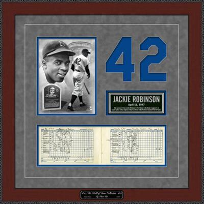 Jackie Robinson's First Game Replica Scorecard & Ticketstub