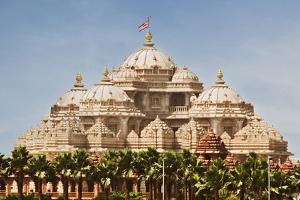 Facade of a Temple, Akshardham, Delhi, India by jackmicro