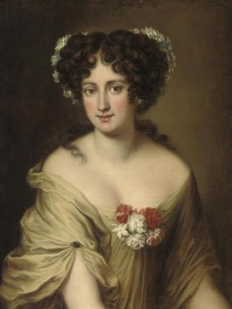 Portrait of Contessa Ortensia Ianni Stella, Bust Length, in an Ivory Chemise, with Flowers in Her…