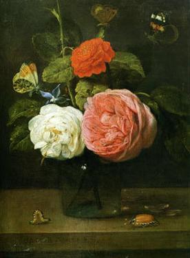 Bouquet de Roses avec Papaillons et Insectes by Jacob Fopsen Van Es