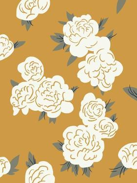 Ivory Peonies on Gold II by Jacob Green
