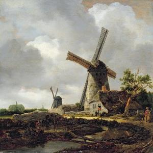 Landscape with Windmills, Near Haarlem, C.1650-52 by Jacob Isaaksz. Or Isaacksz. Van Ruisdael