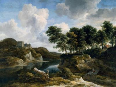 River Landscape with a Castle on a High Cliff, 1670s