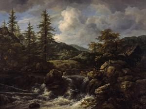 wooded Landscape with Waterfall, c.1665-1670 by Jacob Isaaksz. Or Isaacksz. Van Ruisdael