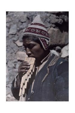 """A Man from the Quichua Tribe Plays Music from His """"Pipes of Pan"""" by Jacob J. Gayer"""