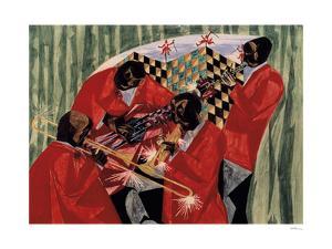 Village Quartet, 1954 by Jacob Lawrence