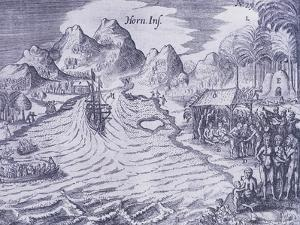 Arrival on Horn Island in 17th from Journey Towards Australia, 1615-1617 by Jacob Philipp Hackert