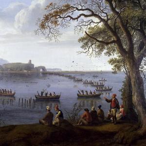 Ferdinand IV Hunting Coots on Lake Fusaro by Jacob Philipp Hackert