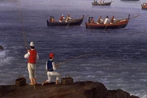The Bay of Naples Near Santa Lucia Showing the Naval Fleets Returning from Algiers by Jacob Philipp Hackert