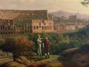 Johann Wolfgang Von Goethe (1749-1832) Visiting the Colosseum in Rome, circa 1790 by Jacob-Philippe Hackert