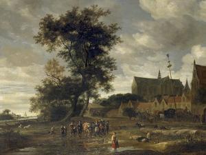 Scene before a Maypole with Alkmaar Church in the Background, 1669 by Jacob Salomonsz. Ruysdael