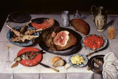 Breakfast Piece with a Fish, Ham and Cherries, 1614