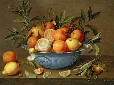 Still Life with Oranges and Lemons in a Wan-Li Porcelain Dish by Jacob Van Hulsdonck