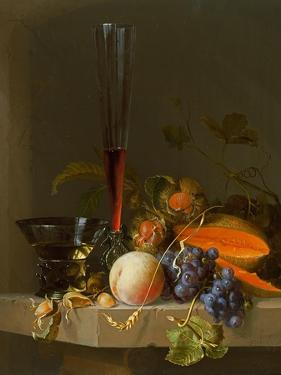 Still Life of Fruit on a Ledge with a Roemer and a Wine Glass by Jacob Van Walscapelle