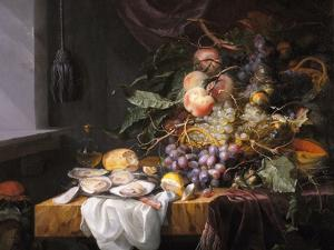 Still Life with Fruit and Oysters by Jacob van Walscapelle