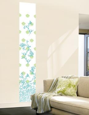 Jacobean Damask Panel I (Blue and Green) Wall Decal