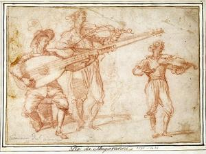 Two Musicians playing a Chiatarrone and a Violin, with a Subsidiary Study of the Second Musician by Jacopo Confortini