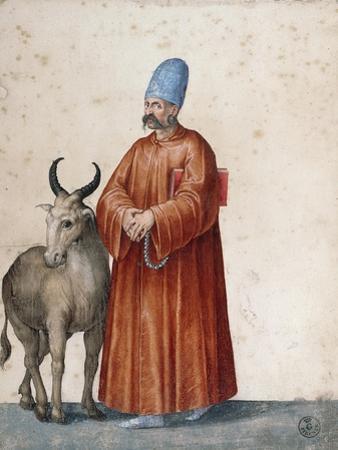 Turkish Man with Goat by Jacopo Ligozzi