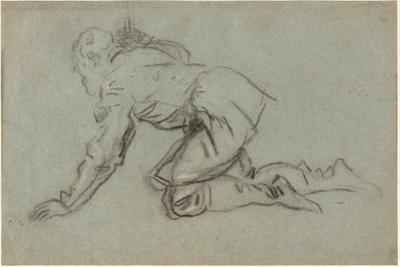 A Kneeling Man Holding a Staff, c.1554-56 by Jacopo Robusti Tintoretto