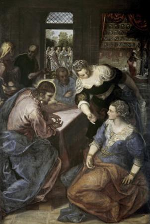 Christ in the House of Mary and Martha by Jacopo Robusti Tintoretto
