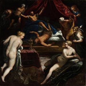 Hercules Expelling the Faun from Omphale's Bed by Jacopo Tintoretto