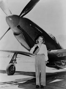 Jacqueline Cochran 1906-1980 American Aviator with F-51 Mustang Airplane, 1948
