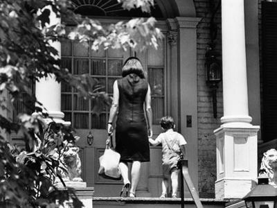 Jacqueline Kennedy and Her Son, 3 Year Old John F, Kennedy Jr Entering Georgetown Federal Era Home